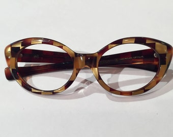 "60s Vintage Cat Eye American Optical ""Vivacious"" Eyeglasses Frames, Amber Gold Checkered Pattern Cateye Glasses, Jackie O Rockabilly Pin Up"