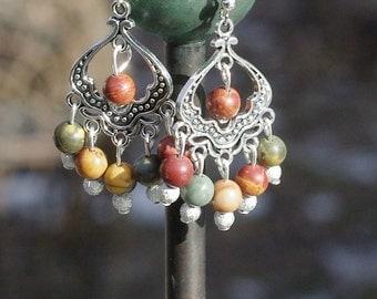 Picasso Jasper Stone Earrings ~ Semi Precious Stones  ~ Boho Style ~ Earth Tone Colours ~ Healing Stones ~ Summer Jewellery ~ Hippie Gift