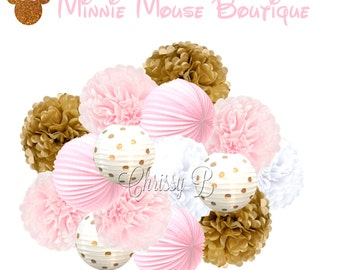 MINNI MOUSE BOUTIQUE Deluxe Party Decorations - Pink and Gold Polka Dot Paper Lantern & Tissue Pom Kit  - Birthday Party, Baby Shower Decor