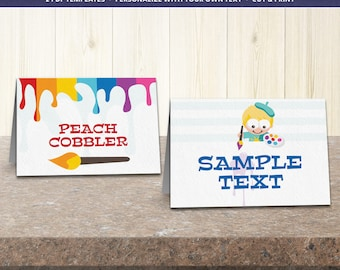 Printable party kit templates, art party birthday supplies, party decoration ideas, printable party food labels - DIGITAL DOWNLOAD