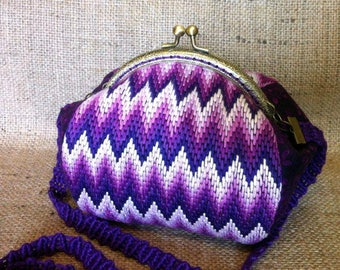 Embroidery Cotton Bag Purple Purse Frame Purse Handle Wedding Purse Bargello Embroidery Clutch