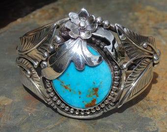 Chunky Southwestern Sterling Silver and Turquoise Flora Leaf Cuff Bracelet - 58 Grams