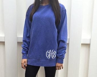 SALE - Monogram Sweatshirt - Monogram Tunic - Monogrammed Comfort Colors Sweatshirt - Monogram Pullover - Monogram Long Sweatshirt