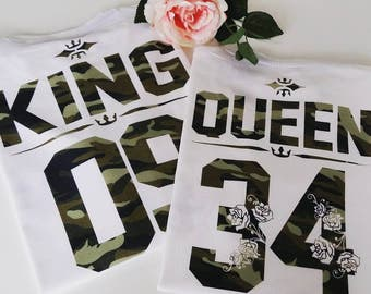 KING QUEEN camouflage t shirts, Couples shirts, Customize your own numbers shirt, King Queen shirts, Army print King and Queen t shirts
