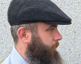 Traditional Irish flat cap - Irish Tweed -100% wool - charcoal - with ear flaps - ready for shipping - HANDMADE IN IRELAND