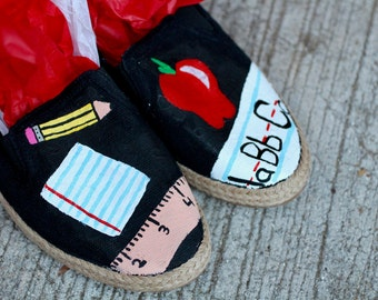 Teacher Hand Painted Custom Canvas Shoes / Gifts for Her / #1 Teacher / School / Education / Teacher Shoes / Sneakers / Slip-ons / Hand Made