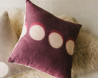 """Organic Hemp (Like Linen) Throw Pillow Cover // Cushion Cover // Hand Dyed // Natural Dyes // Modern // 18"""" Square // AUBERGINE HALO"""