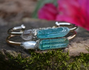 Aurora Aquamarine Crystal Bracelet with Herkimer Diamond or Pearl on Silver or Gold tone, Crystal Cuff Bracelet, Birthstone Gift for Her