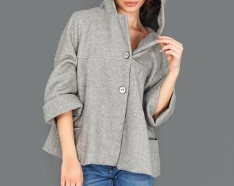 Womens Blazer, Winter Jacket, Grey Cardigan, Hooded Coat, Fall Jacket, Wrap Jacket, Short Womens Jacket, Japanese Fashion, Womens Outerwear