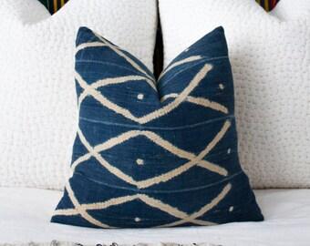 Vintage African Indigo Pillow 18x18