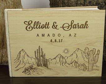 Wood Wedding Guest Book, Guest Book Wedding, Desert Wedding Guest Book, Personalized Wedding Guest Book, Custom Guestbook GB79