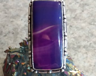 Purple Botswana Agate Ring Size 7