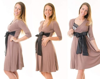 3-in-1 maternity clothes maternity dress still dress maternity wear satin bow