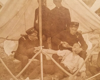 Antique Civil War Pabst Blue Ribbon Photograph - Reenactment - Medical Tent - Sepia - Humor - Drunk - Alcohol - Unusual - Rare - Early 1900s
