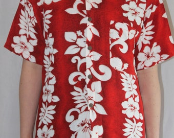 Red island floral Hawaiian shirt