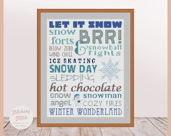 Winter cross stitch, Winter Xstitch, Snow cross stitch, Snow Xstitch, Seasons cross stitch, Seasons Xstitch, Easy cross stitch pattern, PDF