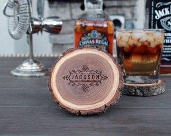 Wood Log Coasters, Personalized Wood Log Coasters, Custom Wood Log Coasters, Tree Log Coasters, Personalized, Set of 4 --CST-WLOG-JACKSON
