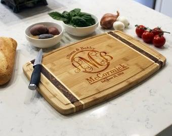 Personalized Cutting Board, Custom Cutting Board, Engraved Cutting Board, Monogrammed Cutting Board, Custom Wedding Gift --CB-BAMM-MCCORMICK