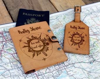 Genuine Leather Travel Set, Personalize Luggage Tag/Passport, Engrave Luggage Tag/Passport , Custom Luggage Tag/Passport --TS-WHT-KathyShane