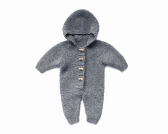 Baby overalls - Baby knit overall - Knit baby romper - Knit romper - Wool overall - Alpaca wool longies - Knit baby pants - Baby wool knit