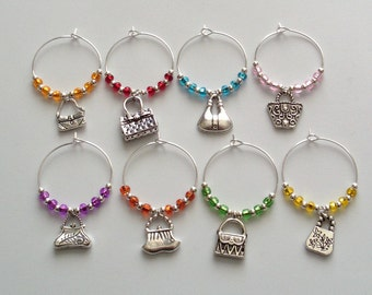Girls Night Out Wine Glass Charms, Girls Weekend Wine Glass Markers, Handbag Wine Charms