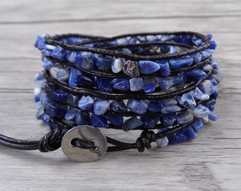 Raw stone bead bracelet Blue beads wrap bracelet sodalite Gemstone bracelet YOGA leather wrap bracelet BOHO bracelet bead jewelry SL-0475