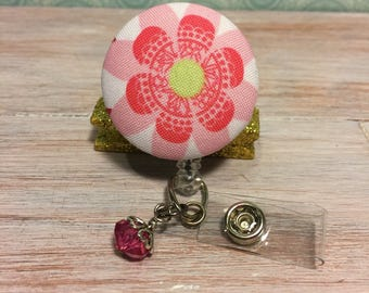 Pink fabric flower covered button ID Badge reel - retractable ID holder with charms. Nurse Gift, Teacher Gift, Office Gift