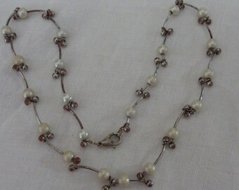 Faux Pearl and Silver Chain Choker Necklace Unusual Link Vintage