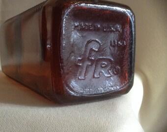Vintage First Rate Amber Film Developing Solution Bottle