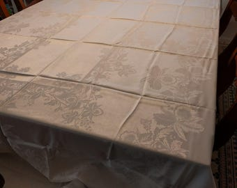 White Rayon Damask Tablecloth, 100 inches x 60 inches, 12 Napkins, Orchid pattern, Gift, Vintage