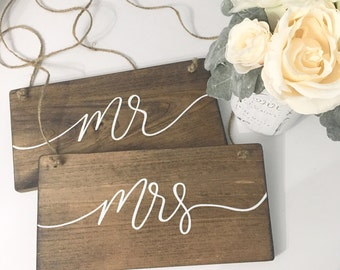 Mr. and Mrs. Chair Signs - mr & mrs, rustic chair signs, wedding signs, rustic wood signs, rustic wedding signs, rustic wedding decor