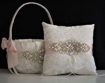 Ivory Wedding Basket \ Ivory Wedding Pillow \ Blush Flower Girl Basket \ Jewel Wedding Basket \ Jewel Ring Bearer Pillow \ Blush Pink Bearer