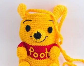 Handmade crochet bag, crocheted purse, Pooh bear purse