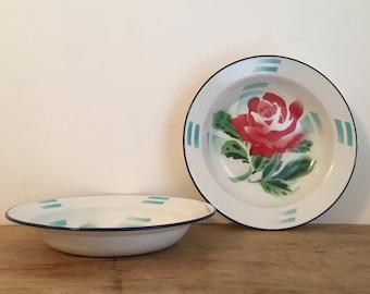 Set x2 Vintage Enamel Bowls