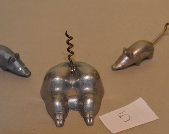 Corkscrews - Pig Butt and 2 Mice with Jeweled Eyes