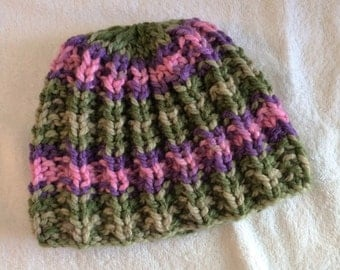 Hand Knitted Child's Beanie Hat, Girl's Winter Hat, Child's Knit Hat, Multi-color Knit Skull Hat, Green, Purple, Pink Knit Hat