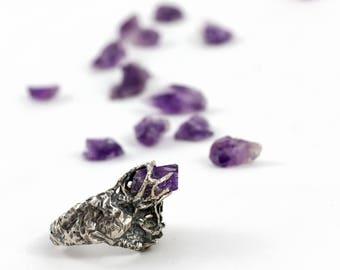 amethyst silver ring . druid