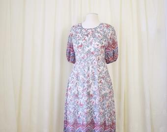 Whimsical Vintage Dress, Japanese vintage Ethnic floral patterned dress, Boho Folk dress, Damask pattern Floral dress 70s 80s, Small 3628