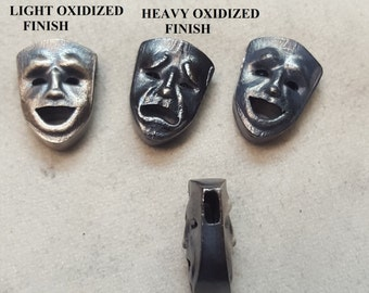 Mask Comedy Tragedy Theater pendant Solid .925 sterling silver handmade with chain