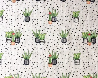 Cactus Print Fabric Cotton Linen, contemporary greenery trend textile for interior sewing projects, cushions, valances, window treatments UK