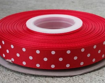 """5/8"""" Red with White Polka Dots - Grosgrain Ribbon - 5/8 inch"""