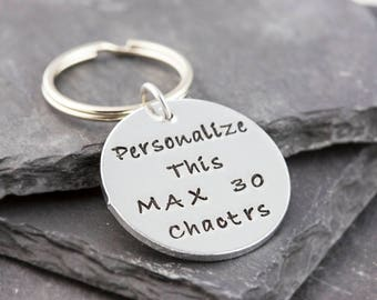 Customized keychain, hand stamped, personalized keyring, personalized keychain, personalized gift, name keychain, round keychain, for him