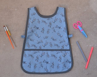 Boys 4-6 Years School Toy Soldier Art Smock Blue Grey Sleeveless Kindergarden Painting Apron Cotton  Tablier Maternelle Ecolier Blue Coton