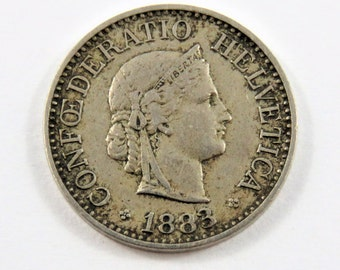 Switzerland 1883 B 10 Rappen Coin.