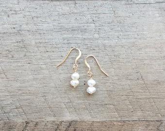 Freshwater Pearl Earrings (Ivory), Pearl Earrings, Dangle Earrings, Minimal Earrings, Everyday Earrings, Free Shipping U.S.