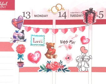 Planner Stickers, Valentine Stickers, Valentine's Day Stickers, February Stickers, Decorative Stickers, Happy Planner, Erin Condren Stickers