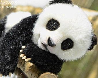 SOLD Baby Panda Saiyan - handmade stuffed realistic animal