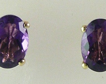 Amethyst Stud 1.49ct Earring 14k Yellow Gold