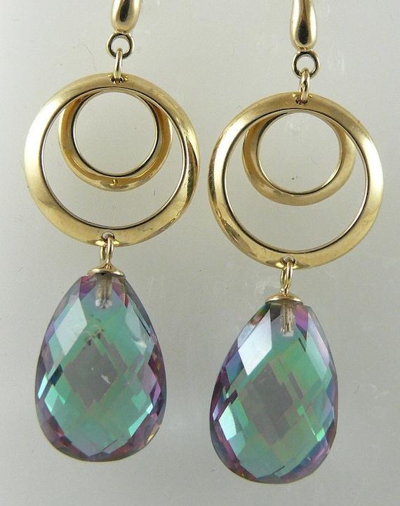 Mystic Topaz 12.82ct Earrings 14k Yellow Gold