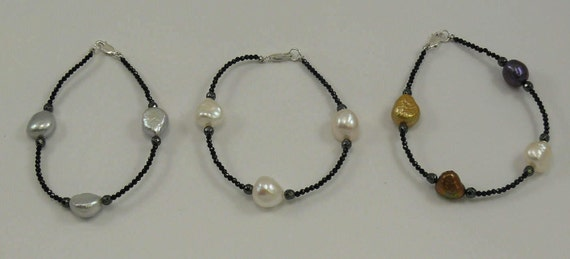 Freshwater Multi-color Pearl Spinel, Hematite Bracelet, Sterling Silver Clasp 8""